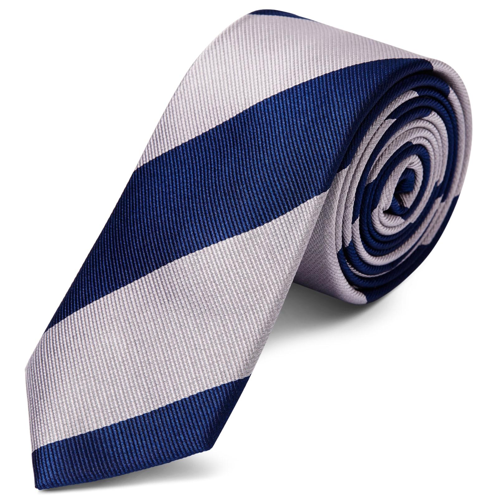 regarder homme Vente chaude 2019 Cravate en soie à rayures argent et bleu marine - 6 cm