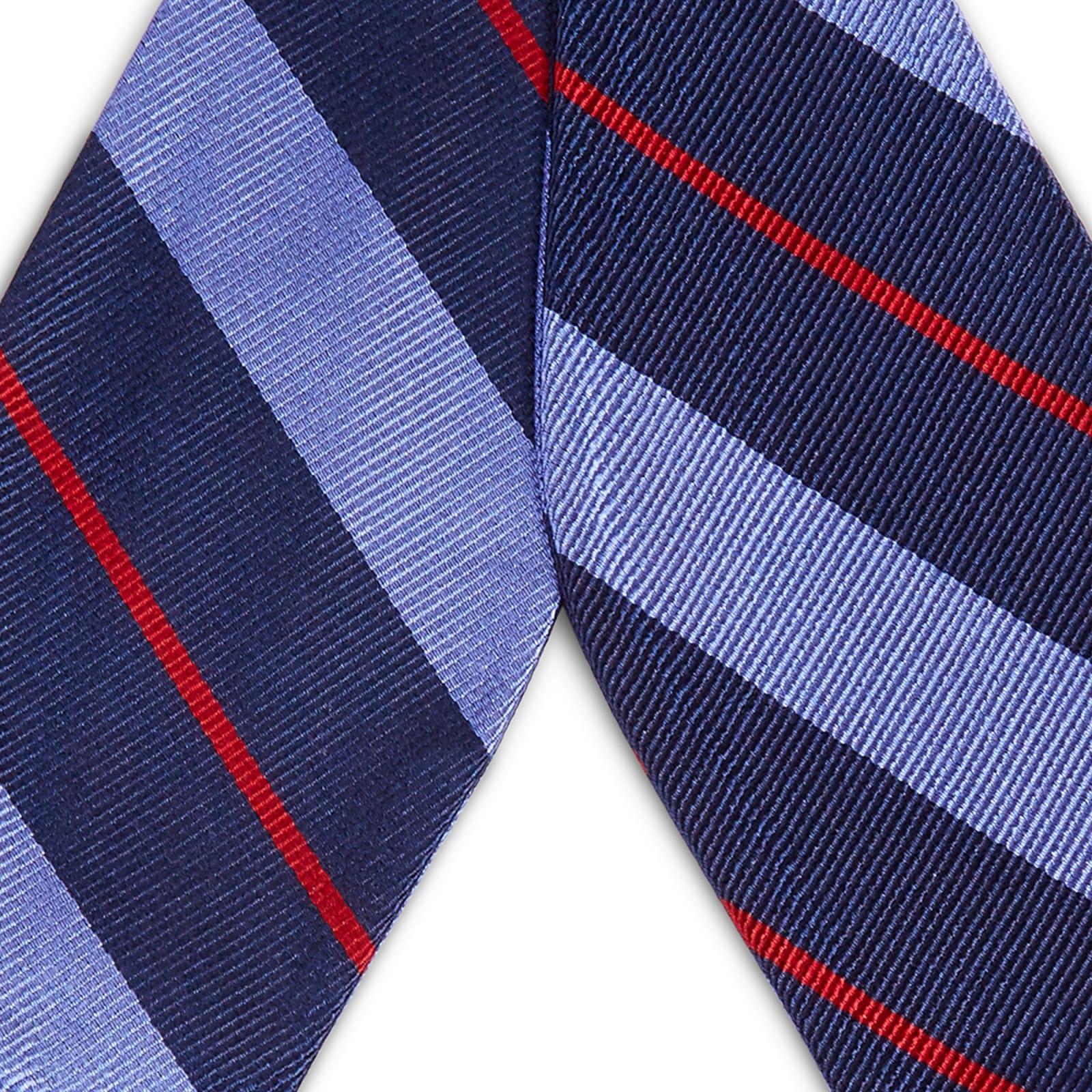 bc46c1b93d4874 Noeud papillon en soie bleu marine à rayures bleu pastel et rouges | En  stock! | TND Basics