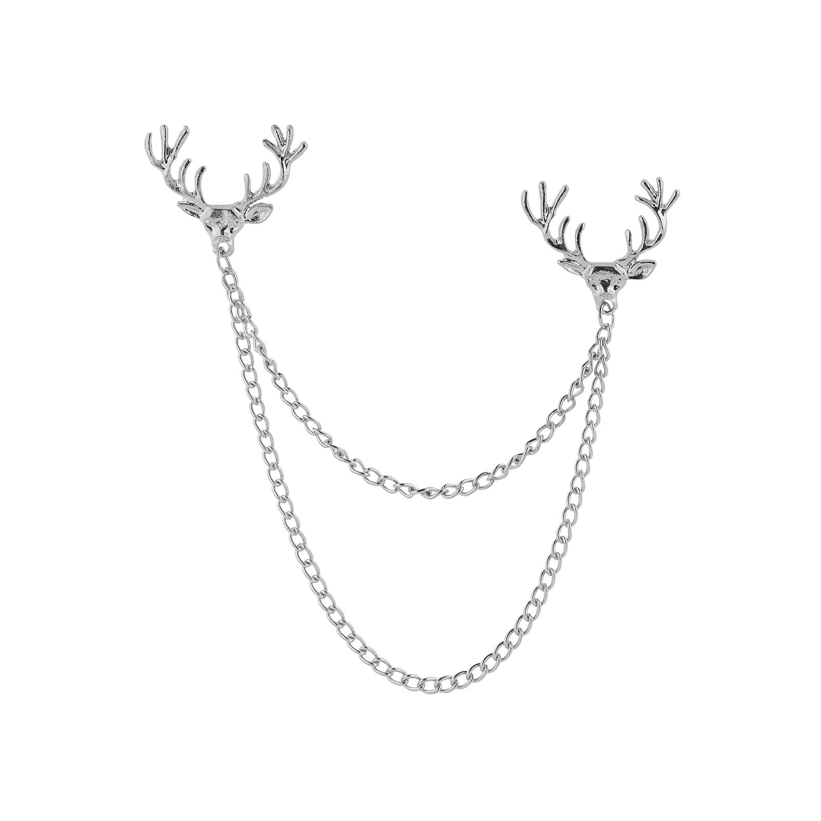24216de6f488d8 Łańcuszek do kołnierzyka z motywem głowy jelenia w srebrnym tonie | W  sprzedaży! | Warren Asher