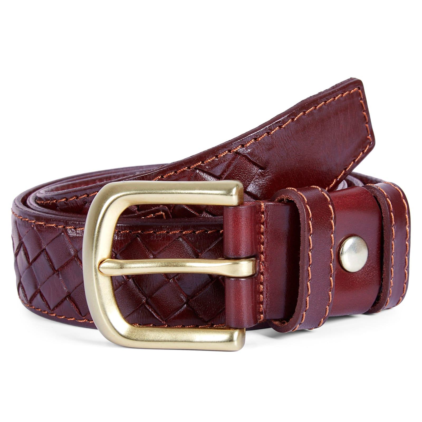 12cc26908b Cinturón de cuero trenzado burdeos | ¡En stock! | Collin Rowe