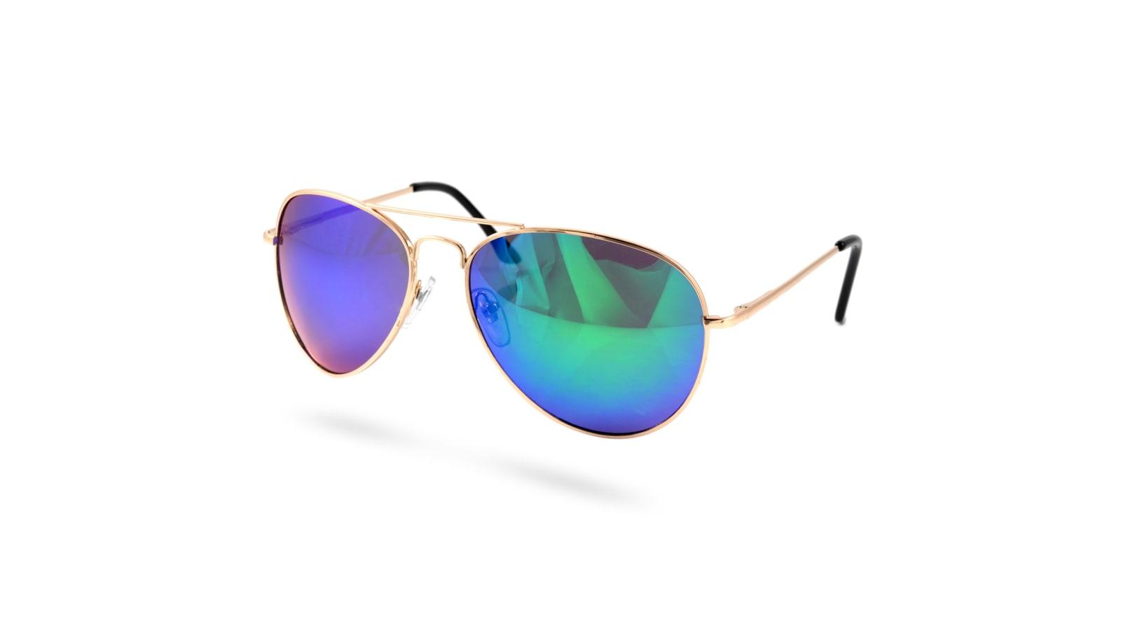 932695735 Sluneční brýle pilotky zlaté/akvamarín   Skladem!