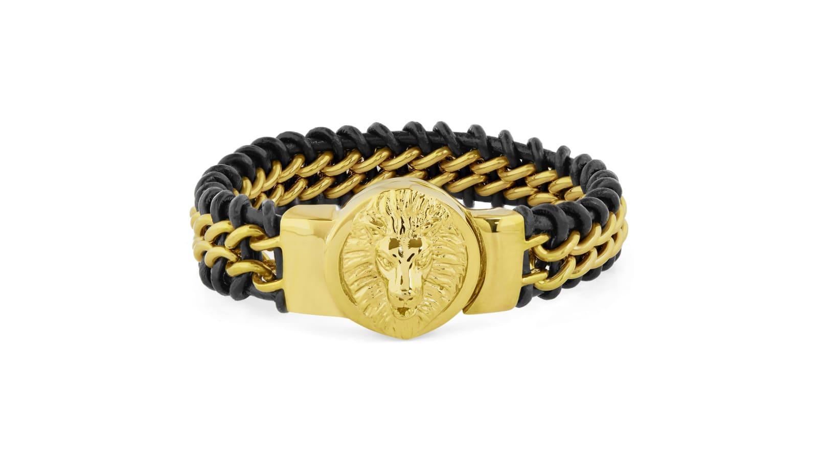 nuovo design nuovi arrivi economico in vendita Bracciale in pelle e acciaio con testa di leone   Disponibile ...