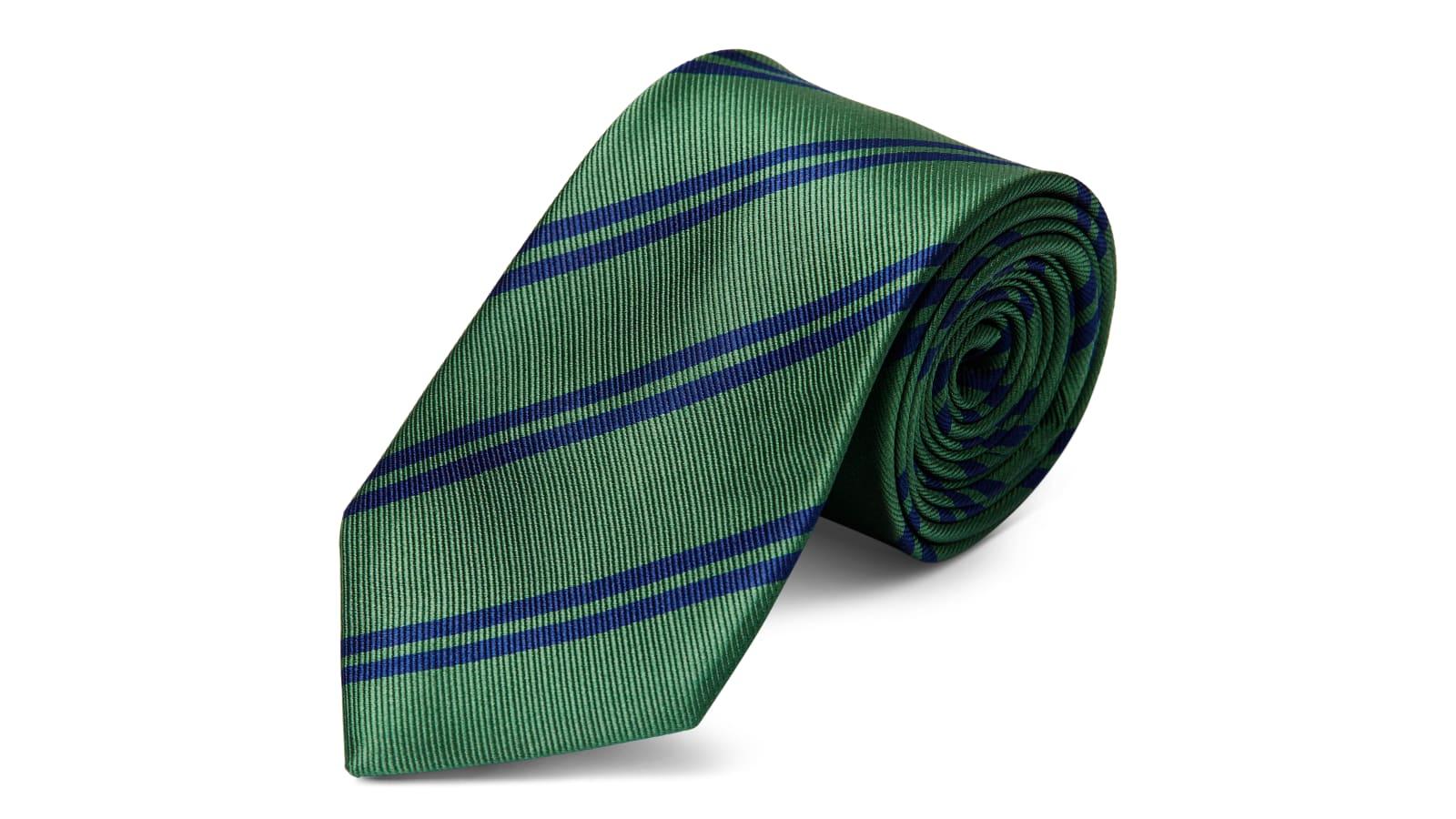 9f629b65db76ee Cravate en soie à rayures vertes et bleu marine - 8 cm | Port gratuit | TND  Basics