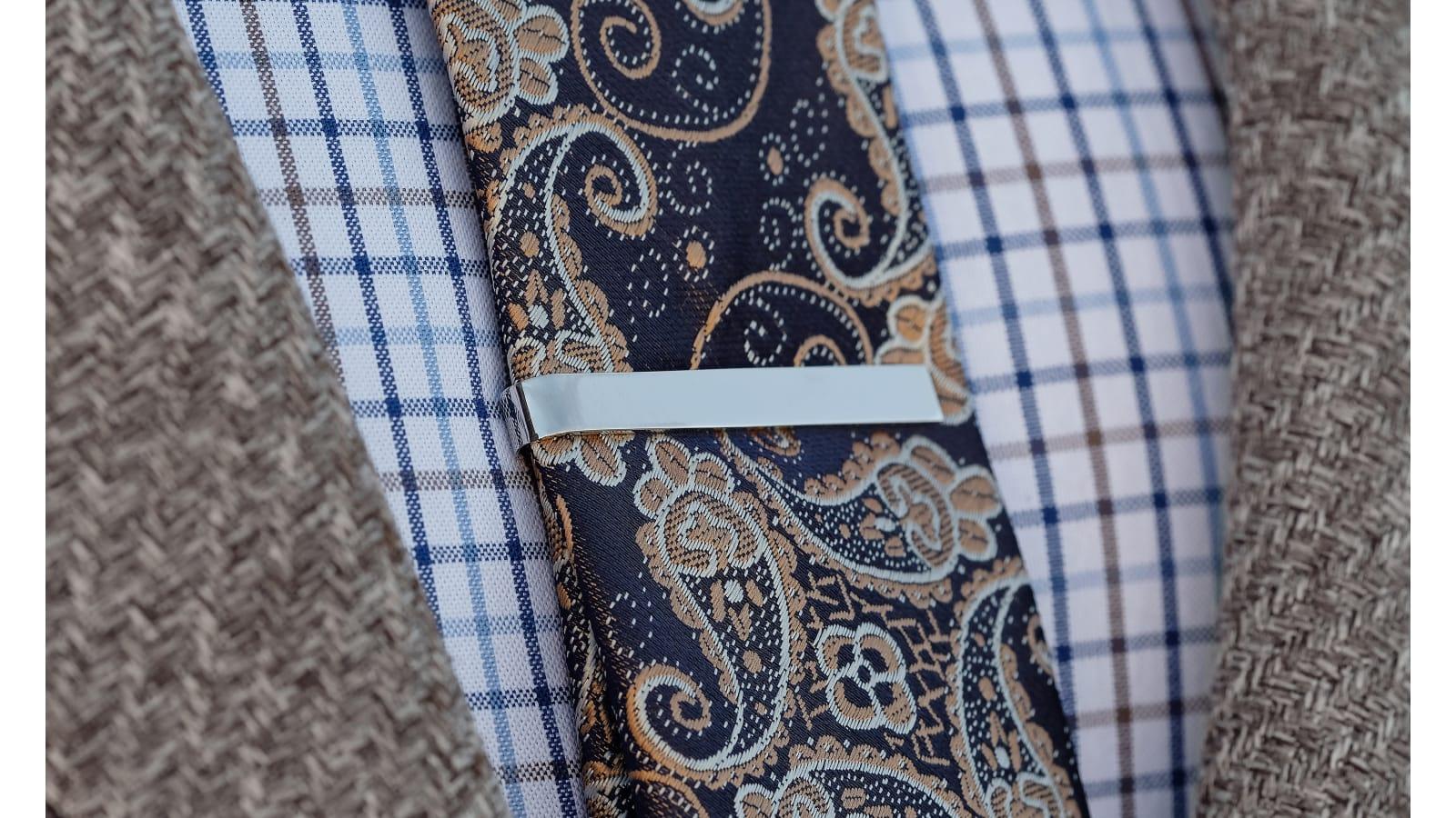 Slim Tie Bar Skinny Silver Plated