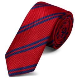 beau conception de la variété faire les courses pour Cravate en soie rouge écarlate à rayures bleu marine - 6 cm