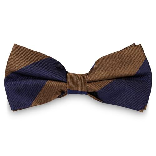 bien connu nouveau produit emballage fort Noeud papillon en soie à rayures bleu marine et marron