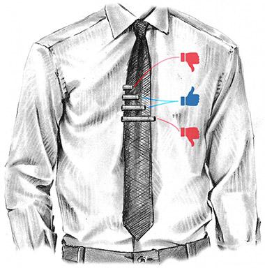 onde é que a mola de gravata deve assentar