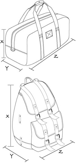 Size guide for bags