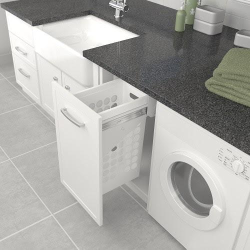 Tanova Simplex Laundry Pull Out 300mm Plastic Basket White