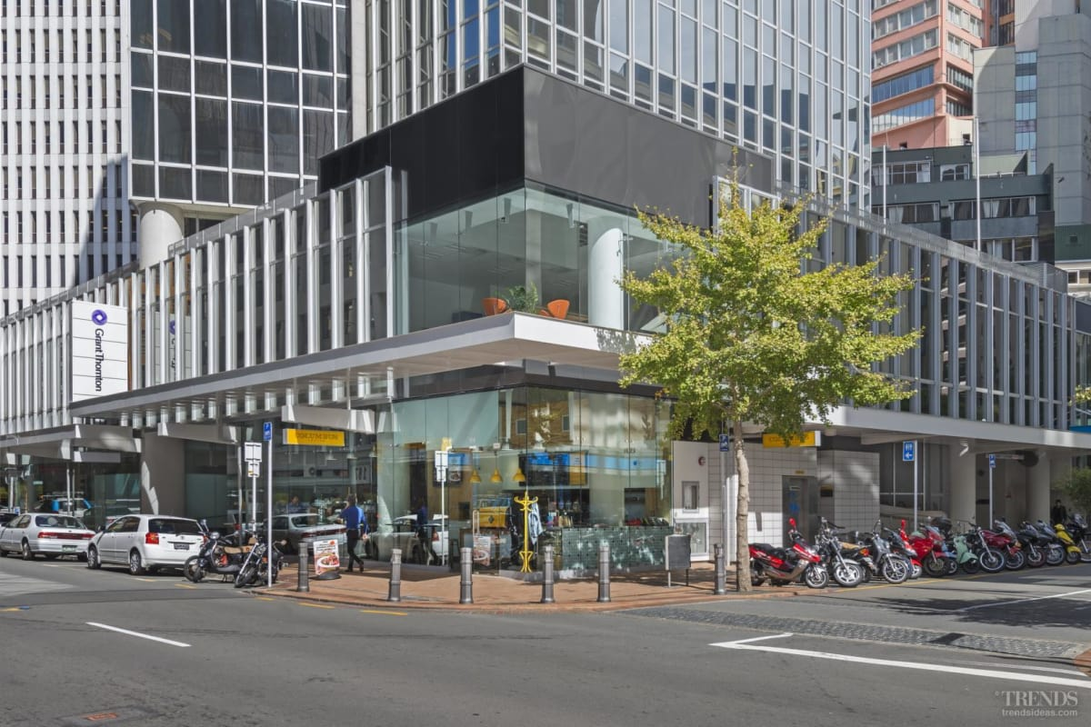 Glass extensions animate the Grant Thornton House podium in the Wellington CBD