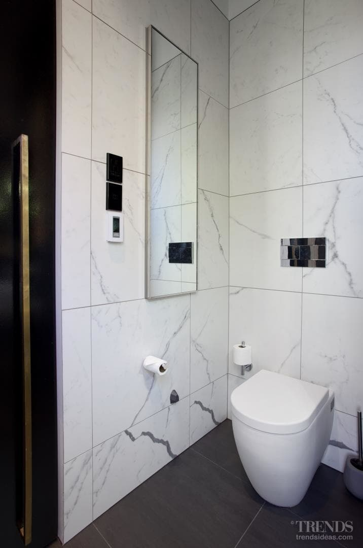 Bathroom remodel with black and white theme, mosaics, and hiden lighting