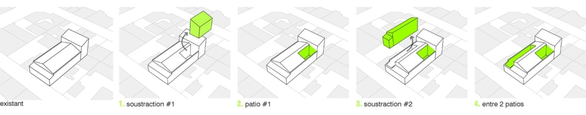 The plan showing how the architects cut out the existing sections of the home