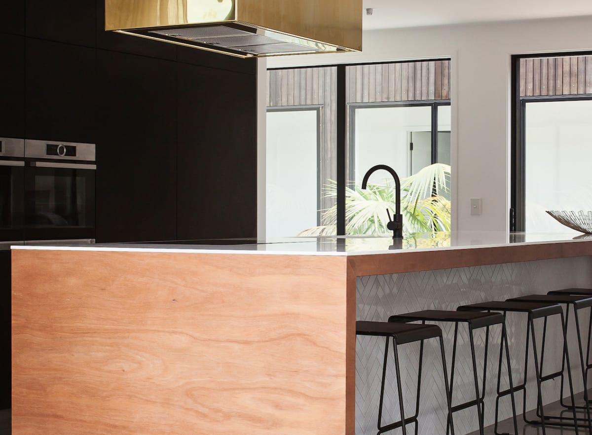 Hafele Matt Black sink mixer. Kitchen design by Rowson Kitchens