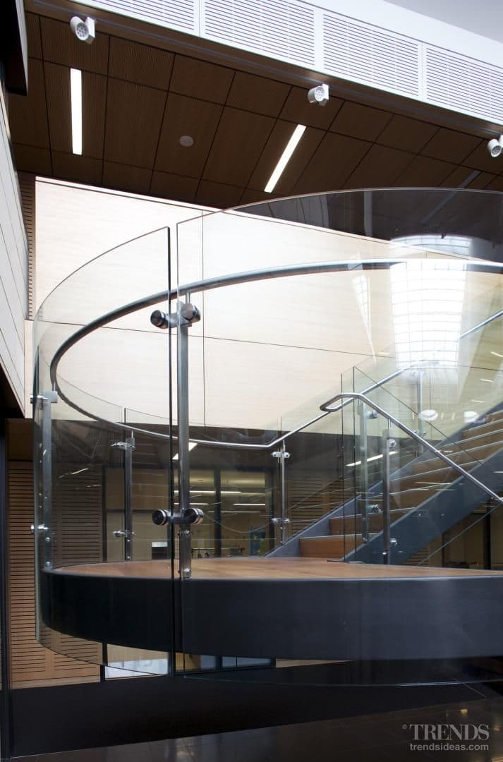 Curved glass adds interesting design elements