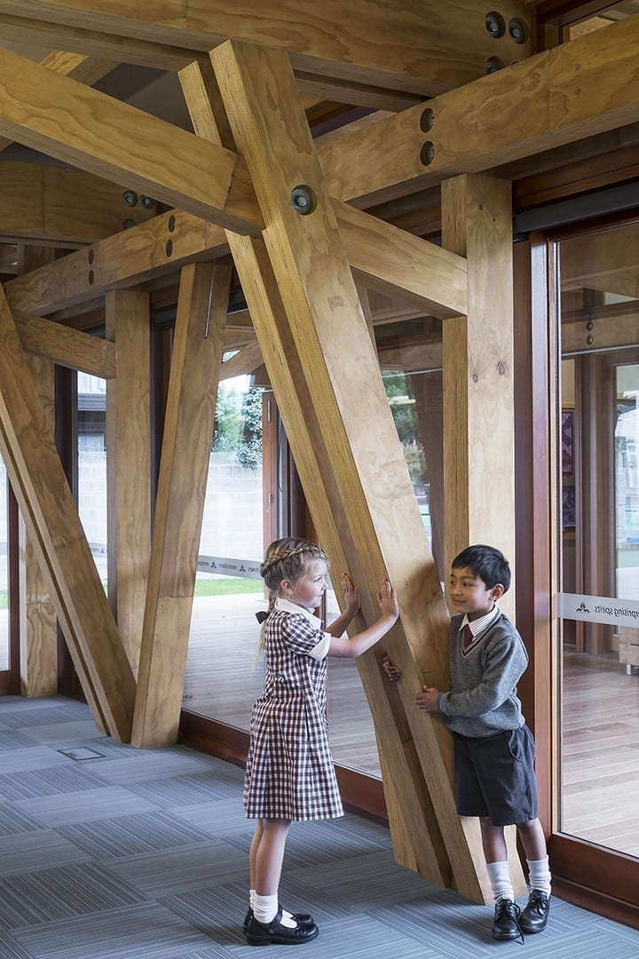 This school construction benefits from the warmth and character of wood