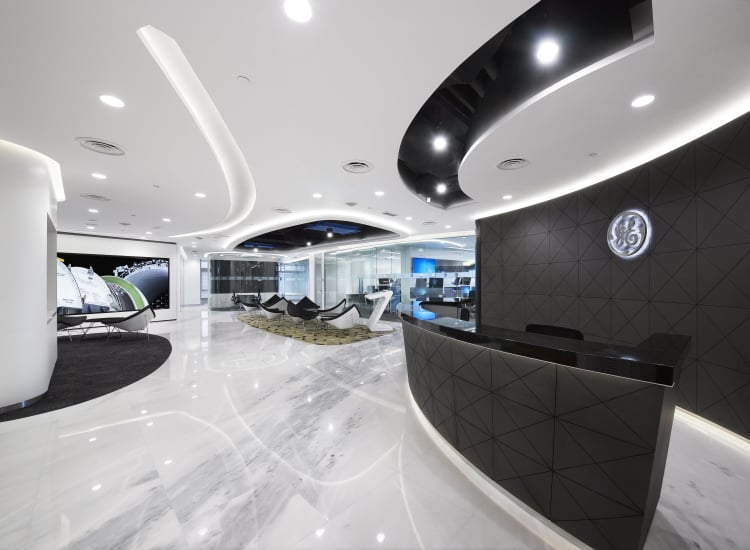 The main reception of the new GE building in KL is located at Level 38 within the building and boasts a futuristic looking appearance