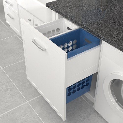 Tanova Laundry Pull Outs with Plastic Hampers