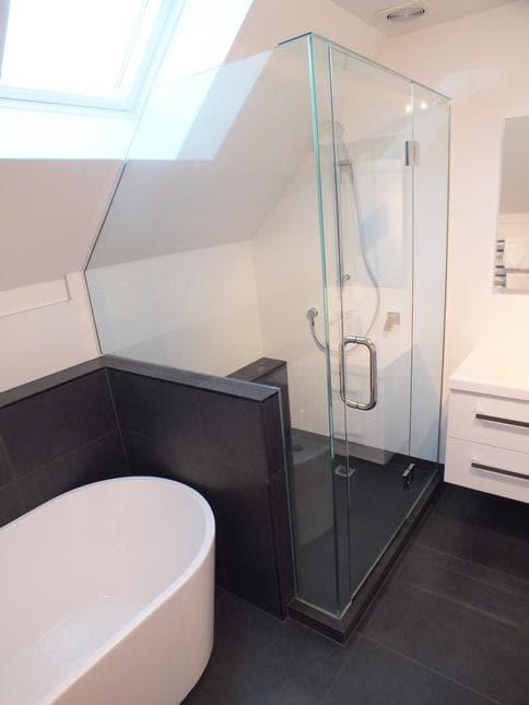 Freestanding bath in bathroom renovation