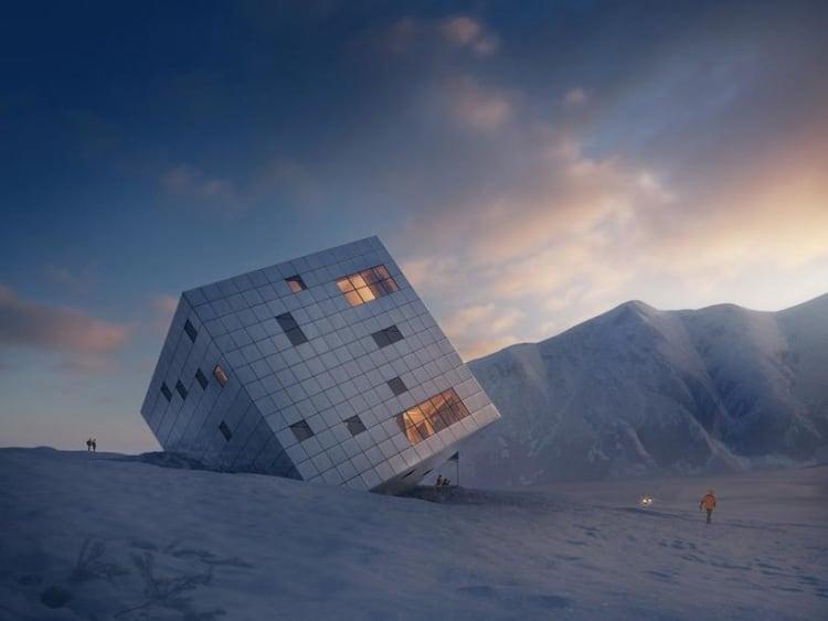 Futuristic Cube Design For Mountain Lodge