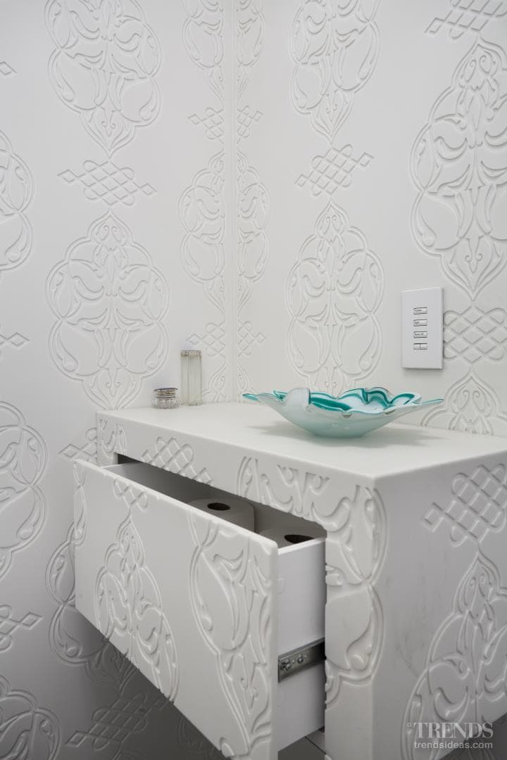 In a white room – powder room by David Ruff