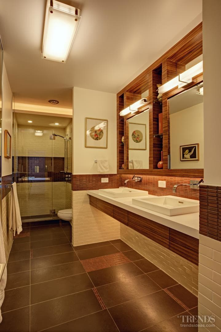 Arts and Crafts-style bathrooms with mosaics, subway tiles and wheelchair access