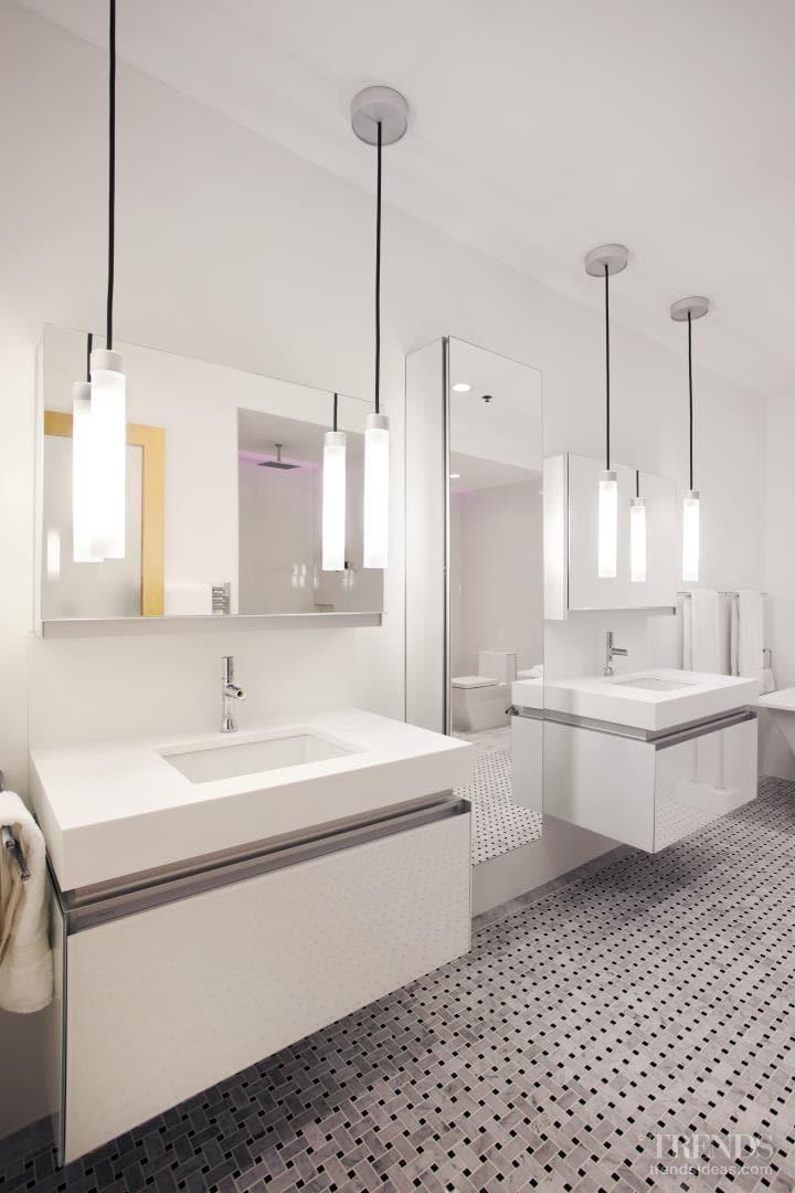 Fresh white bathroom with chromatherapy