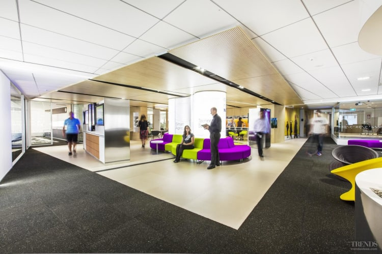 Contemporary office fit out has dropped ceiling acrylic for Office design trends articles