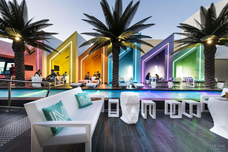 Beachside club combines the look of colourful Brighton beach huts with the razzmatazz of a Miami resort