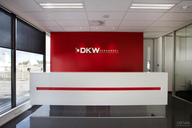 Lovely DKW Personnel Office Designed By Interiors @ OfficeMax Has Custom Office  Furniture In Red, White, Chrome And Black.