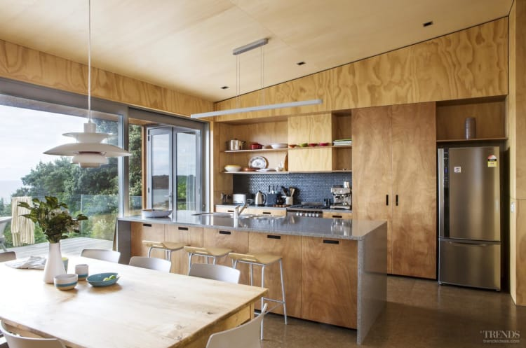 contrasting plywood on walls cabinets and ceilings in new holiday home. Black Bedroom Furniture Sets. Home Design Ideas