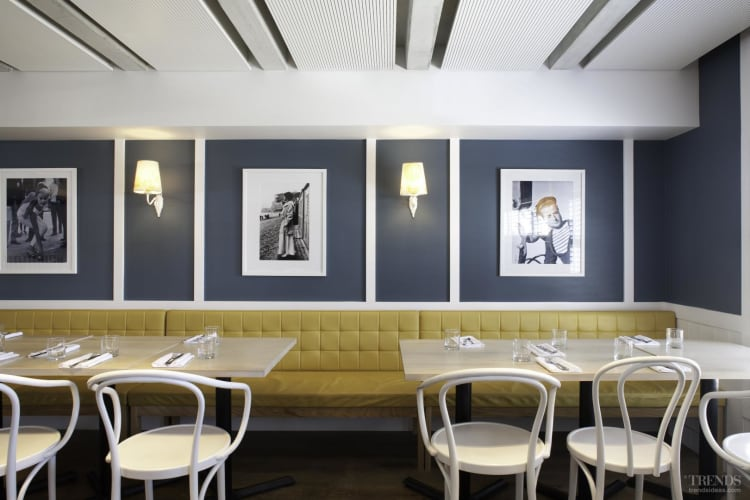 Resene colour sets tone in this restaurant evokes both the sea and French culture. The design is by MAUD