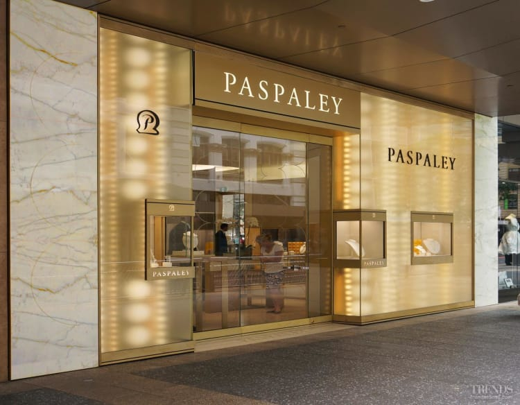 LED lighitng resembles cascading strings of pearls in the Paspaley jewellery store,  Brisbane