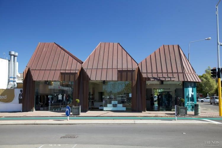 Copper cladding drapes new suburban shopping centre in Merivale, Christchurch