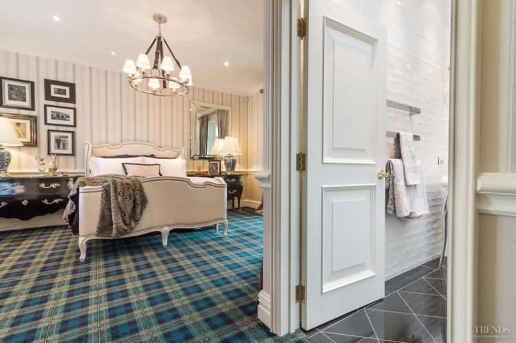 Classic, contemporary and textural elements come together in this eclectic guest suite