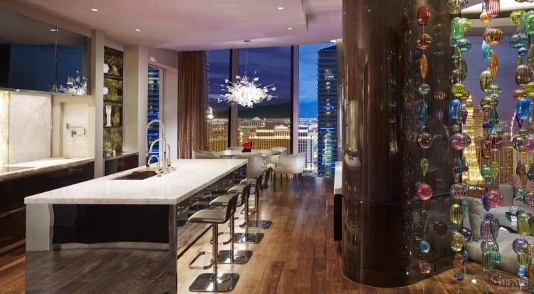 Kitchen designed by Mick De Giulio for entertaining overlooks Las Vegas strip
