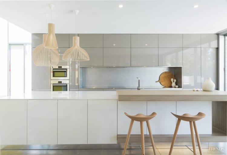 Minimalist kitchen with quiet palette and minimal detailing for Kitchen set minimalist design