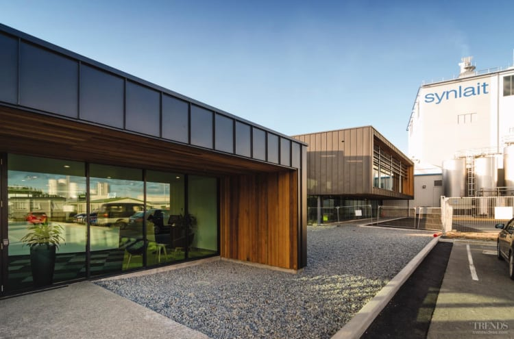Contemporary admin and lab building by Calder Stewart Construction for milk product company Synlait