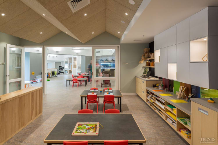 Muted colours on major surfaces at this child centre create a calming environment