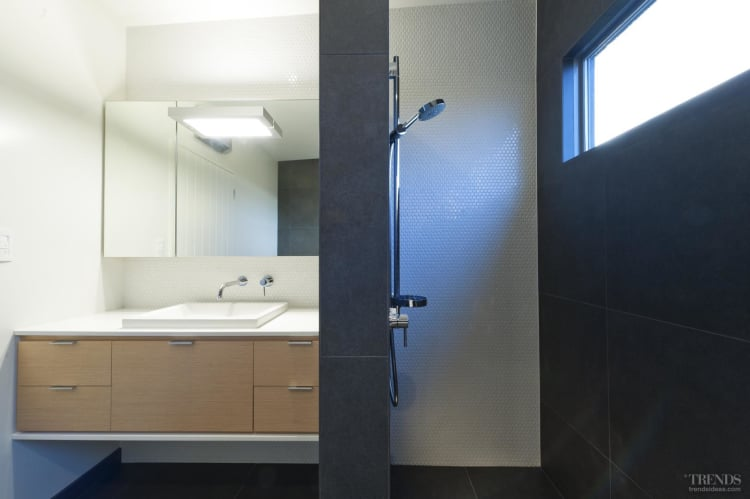 Quiet contrast in this bathroom by designer Davinia Sutton