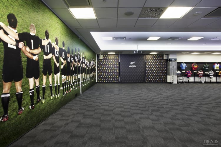 All Black Coverage – custom floor for NZRU offices from Floorspace