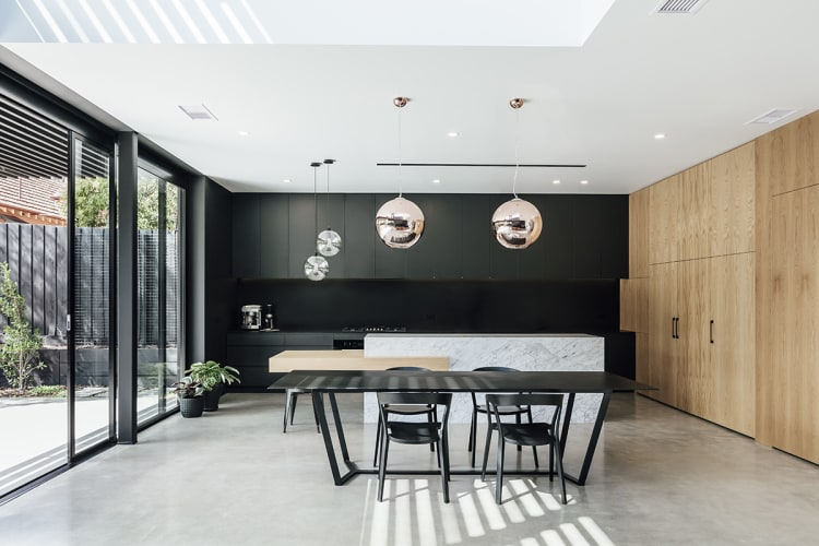 Contemporary kitchen forms part of a larger modern renovation to a heritage home