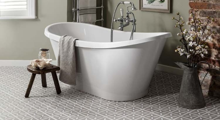 Use a freestanding tub to open your bathroom up