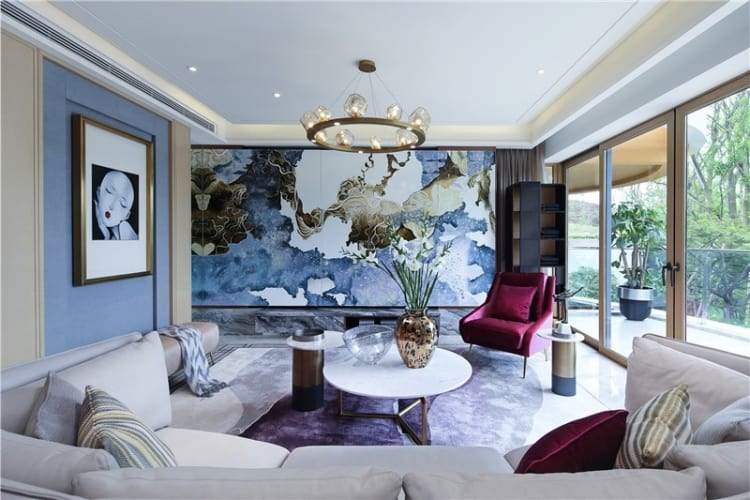 A feature wall unlike any other dominates the living area