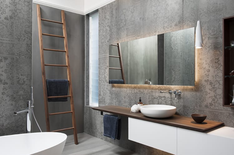 Bathroom renovation design adds classic touches to a clean-lined minimalist space