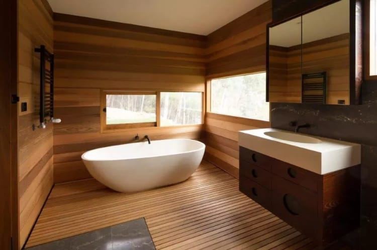 When creating a sustainable bathroom, try upcycling materials