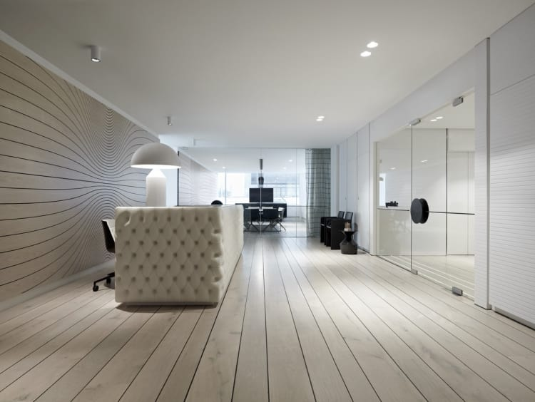 Wood floors add to the clean look in the reception area