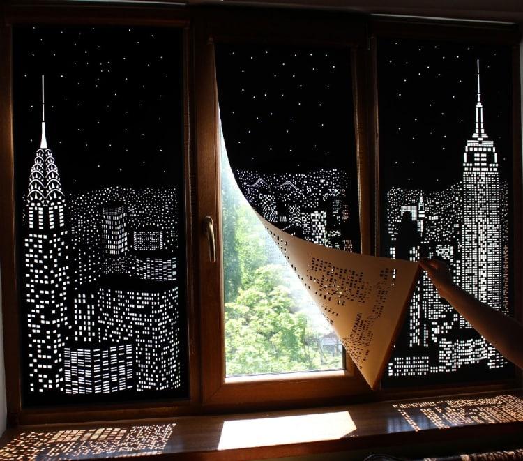 Blackout blinds create interesting shadows