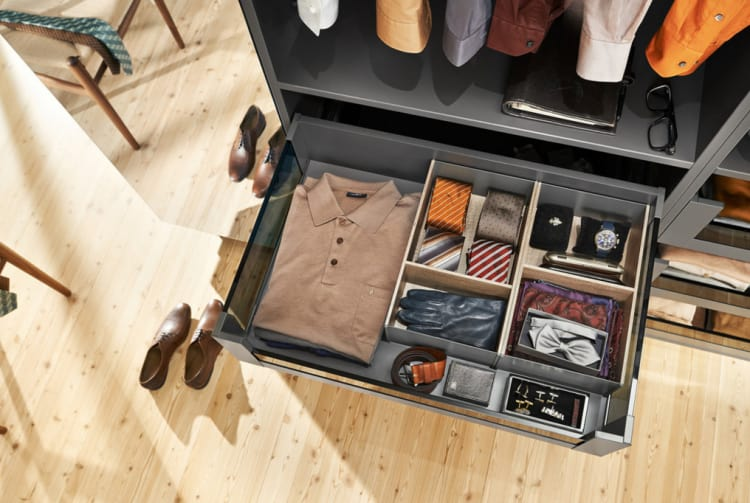 In your bedroom, use LEGRABOX to sort out those smaller clothing accessories and nicer pieces of clothing you'd rather keep safe