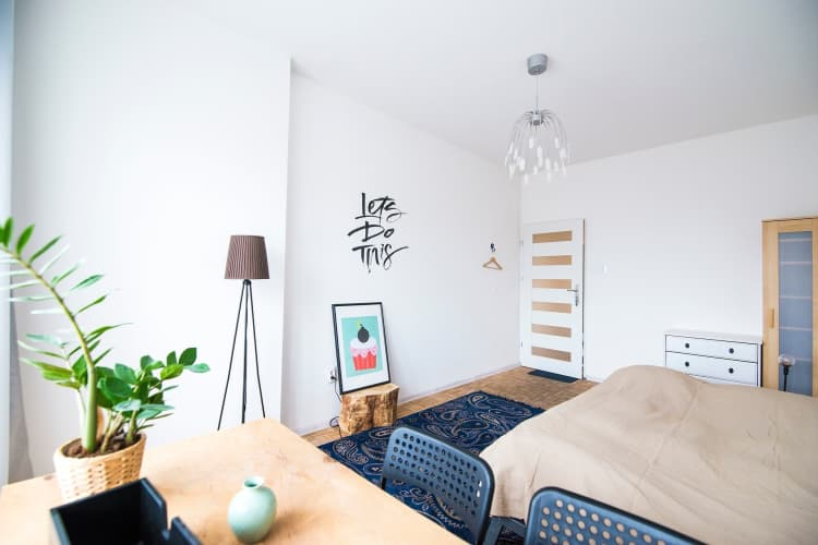 Change out light fittings and hang paintings to put your stamp on a rental room