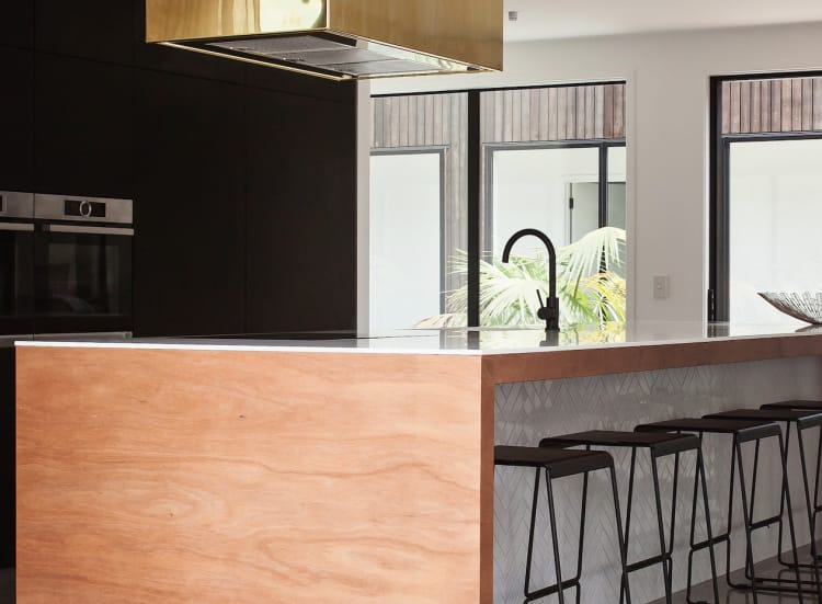 Hafele Matt Black sink mixer. Kitchen design by Rowson Kitchens